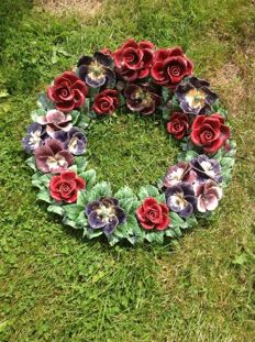 New, large, French ceramic wreath for outside - Nicely decorated with roses and violets
