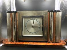 Monet Watch - table clock with alarm clock - briar structure with 800/1000 silver panels