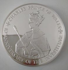Jamaica – 25 silver dollars, 1979, '10th Anniversary – Investiture of Prince Charles'.