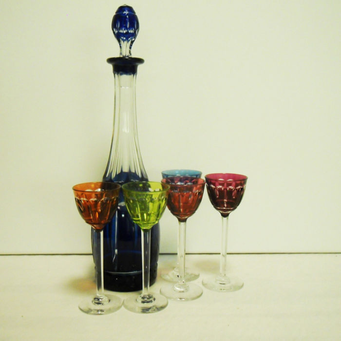Bohemian Crystal - Cobalt Blue cut to clear decanter with five coloured sherry glasses, 20th century