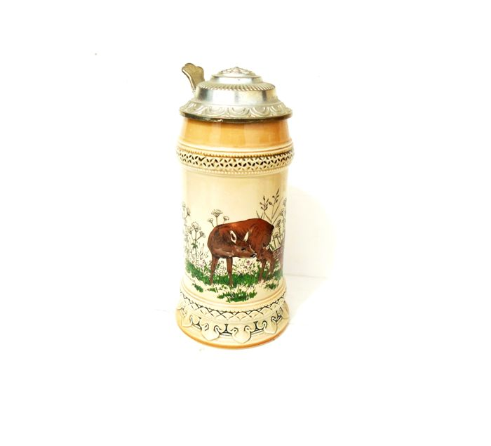German sitzendorf beer stein, deer stein