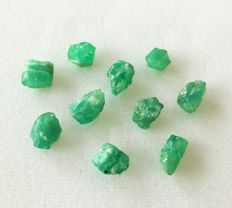 Lot of natural rough emeralds - 14.07ct (10)