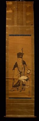 Scroll painting by Juroujin (寿老人), signed by 法橋等叔 (Hokkyo Toshuku) – Japan – approx. mid 18th century