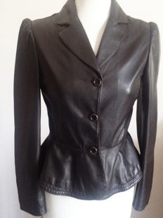 Moschino leather jacket - Feminine blazer - Brown - Made in Italy.