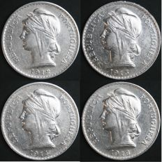 Portugal – 4 Coins of 50 Centavos in SILVER - 1912, 1913, 1914 and 1916 – Complete Collection – Portuguese Republic – Lisbon – UNC