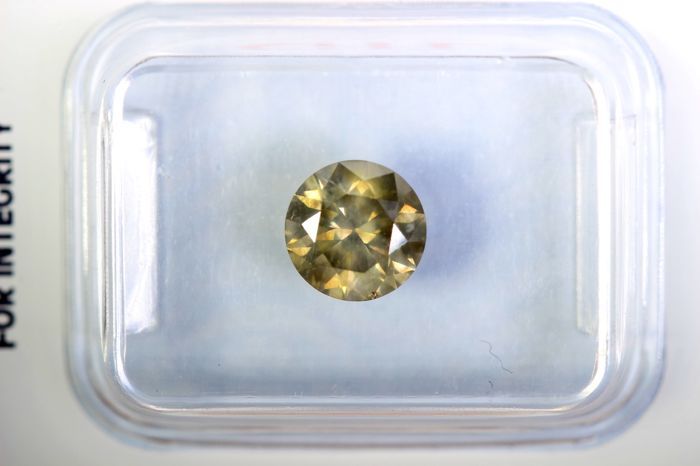 Diamond – 1.14 ct – Fancy Greyish Yellow – SI1 – No Reserve Price