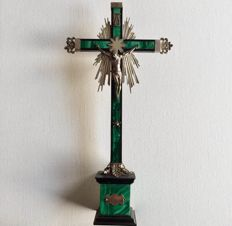 Italian table cross in silver and malachite - end of the 18th century