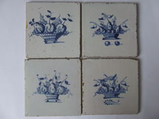4 Tiles, very nice baskets of fruit, without corner motifs.