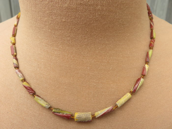 Beaded necklace made of archaeological Roman glass of approx. 1,800 years old – 2nd – 3rd century