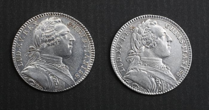 France – Louis XV – Lot of 2 tokens 'Extraordinaire des Guerres 1753' & 'Ville d'Angers' – silver