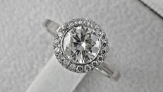 IGL 1.18 ct round diamond ring made of 18 kt white gold - size 5.5