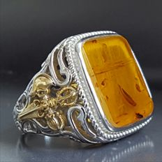 Natural  Baltic Amber 24 k gold plated sterling silver ring