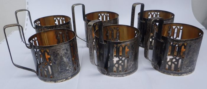 Six Russian silver cup holders, after 1958