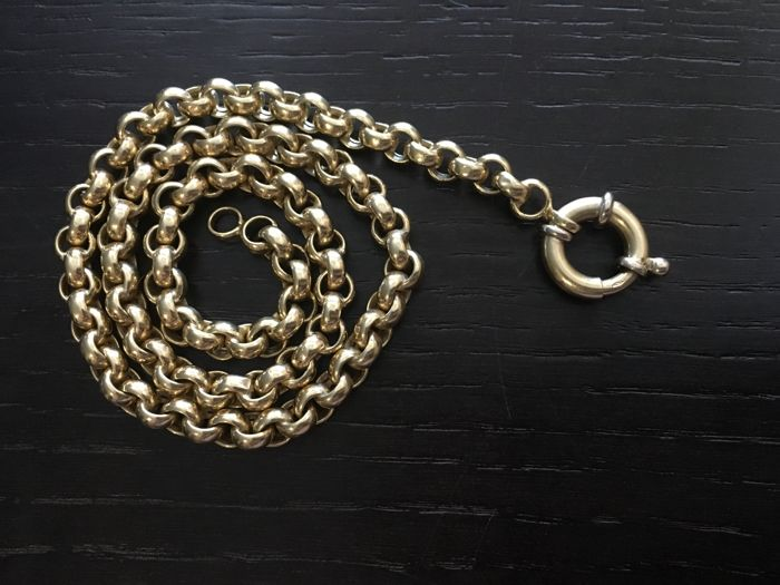 18 kt. Gold necklace composed of round links, with clasp for pendants.  42 cm.