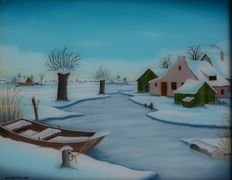 Nol Zoutman (1947 - ) - Winterlandschap