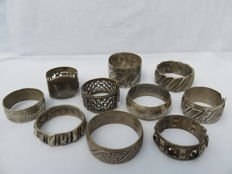Collection of ten decorated bracelets – Morocco – Middle East –  20th century.