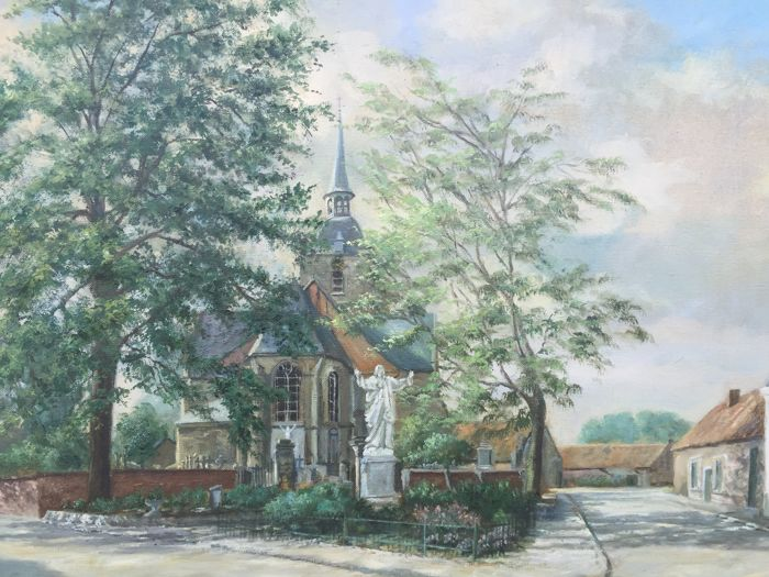 Betty Everaert (20th century) - Dorpsplein met kerk