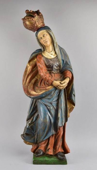 Antique and big polychrome wooden sculpture of the Immaculate Conception - German School - 18th century