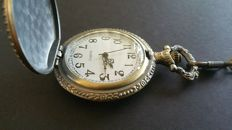 Masonic pocket watch in silver-plated brass case - recent