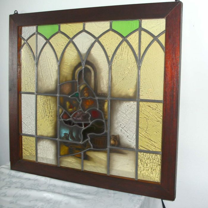 Large stained glass window - origin Netherlands - first half of last century - Signed Firma Stroucken