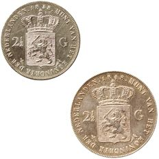 The Netherlands - 2½ guilder 1848 and 1858 Wilhelm II & III - silver