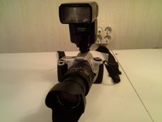 Canon EOS 300 with Sigma 28-135 lens and Sigma EF-500 st Electronic flash