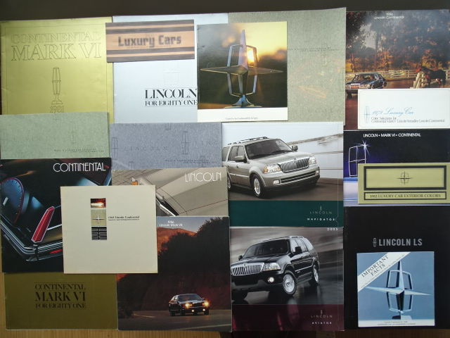 1966 - 2005 - LINCOLN Continental, Town Car, Continental Executive Limousine, LS, Mark VI, VII & VIII, etc - mixed lot of 20 original sales brochures & color selection