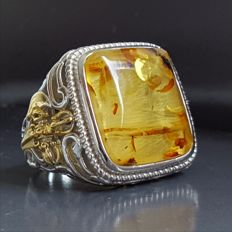 Natural  100 % Baltic Amber sterling silver ring