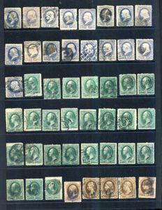 USA 1870/1887 - Presidents, Large accumulation to sort out by printer - between Scott 134 and 215