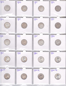 The Netherlands – 25 cents 1903/1944, Wilhelmina (20 different coins) – silver