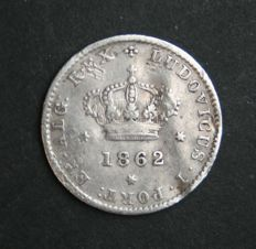 Portugal – 50 Reis in SILVER – Luís I – 1862 – 1st Date – Lisbon – Only 17,200 Minted