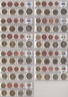 Europe - year packs of Euro coins (11 different) F.P. various  years (2002/2008) and countries