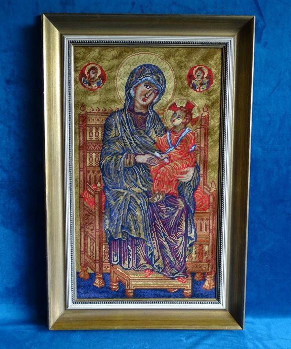 Large embroidery in frame - Madonna with child - 1st half 20th century