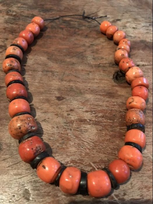 Strand of Very Large Antique Mediterranean Coral Beads - Yemen - 19th/early 20th Century