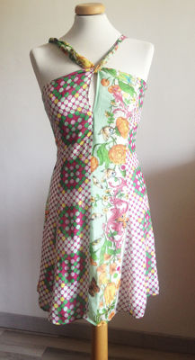 Versace - 100% silk dress, pattern with flowers, butterflies, and polka dots