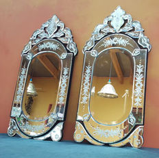 A pair of mirrors with Venetian cut glass, 2nd half of the 20th century, France