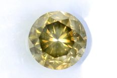 Diamond – 1.54 ct – Fancy Dark Greenish Yellow – SI2 – No reserve