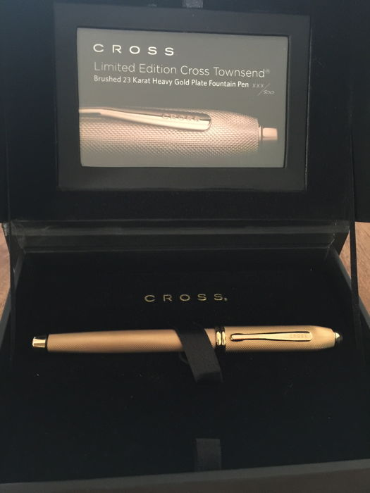 Limited Edition Cross Townsend Brushed 23 Karat Heavy Gold Plate Fountain Pen 443/500