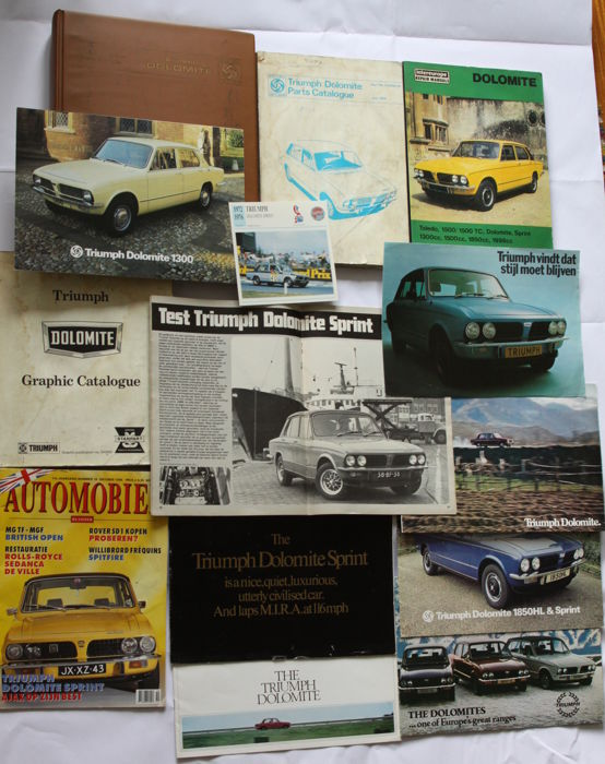 Triumph Dolomite Official Repair manual, parts catalogue, folder, brochures, magazines