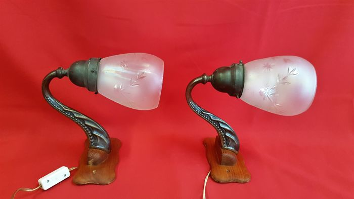 Two brass wall lamps with cut glass shades, mid-20th century, Germany