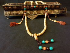 Tibetan Yak Bone Mala with Turquoise and Precious Coral (bamboo coral) - Late 20th century