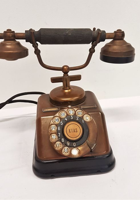 Antique Danish KTAS telephone, made of copper and Bakelite