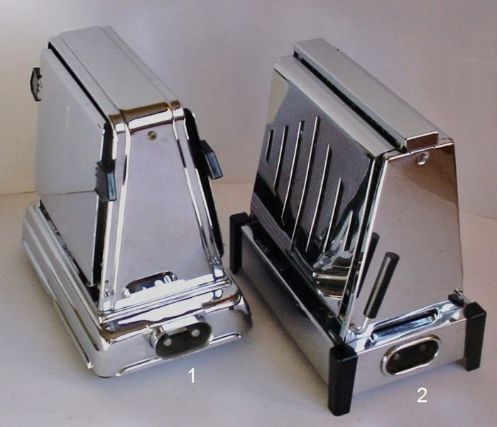 Two vintage KMD DAALDEROP toasters - chromed metal and bakelite