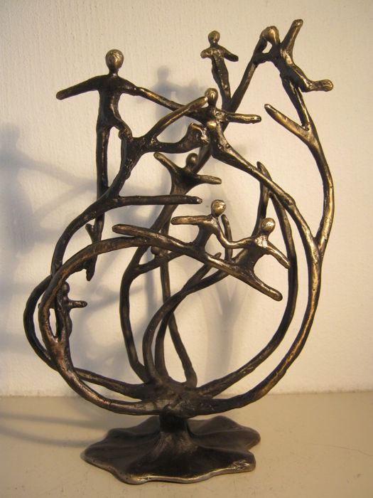 "Corry Ammerlaan van Niekerk - special signed sculpture  - ""De Stam van de Organisatie"" - including a description and a gift box"