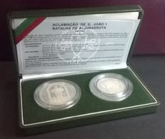 Portugal – Case with 2 Coins of 25 and 100 Escudos – Acclaim of  D. João I and the Battle of Aljubarrota – 1986 – Portuguese Republic – Lisbon – Very Rare