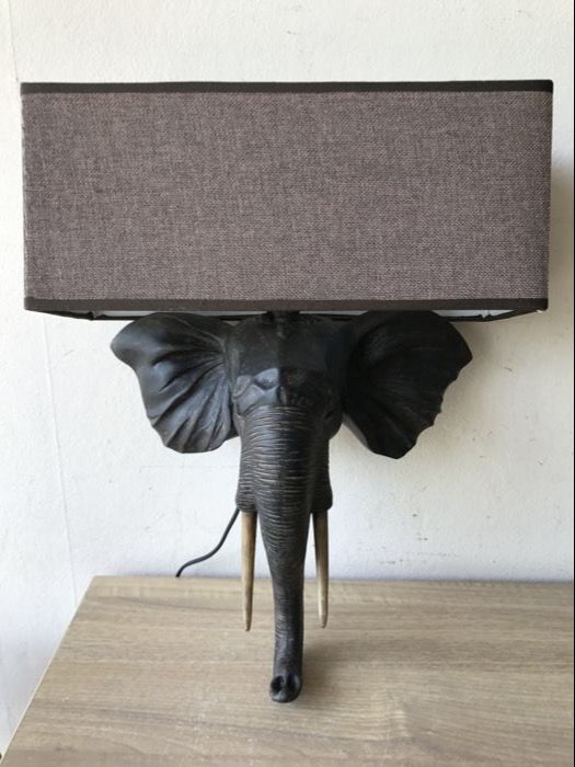 Large decorative elephant lamp.