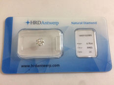 "0.70 brilliant cut diamond, colour E and IF clarity, including certificate from HRD ""Hoge Raad"" (High Council)"