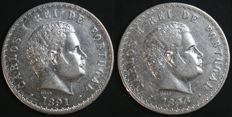 Portugal – 2 Coins of 500 Reis in SILVER – Carlos I – 1891 and 1896 – Lisbon – UNC