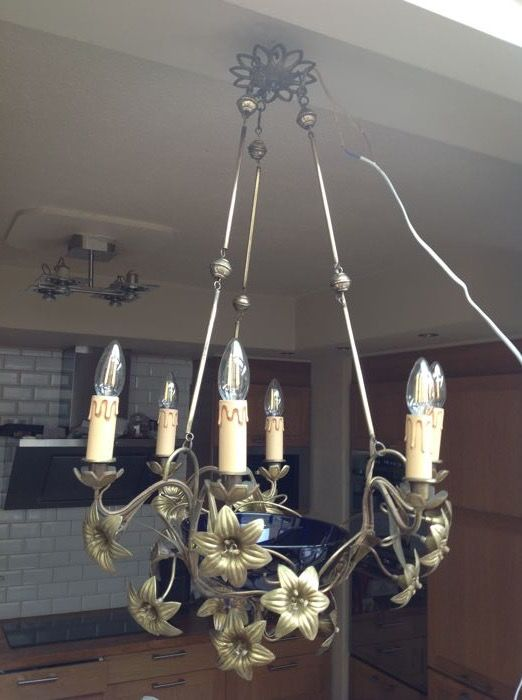 Sublime six-arm gold plated chandelier with centre in night blue crystal, early 20th century, France.