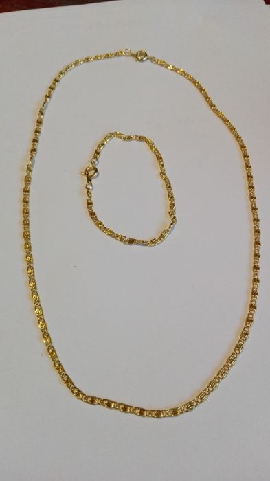 18 kt gold necklace-bracelet set, navy links, necklace length 48 cm, bracelet length 20 cm